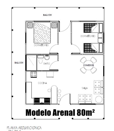 plano modelo arenal 80m2